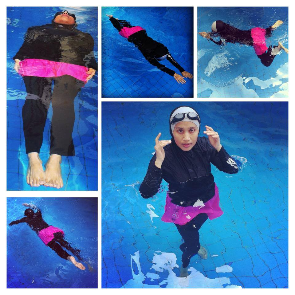 Swimming in Nashata Skirt Compression Pants & Iman Sports Hijab