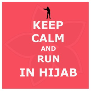 keep calm and run in hijab