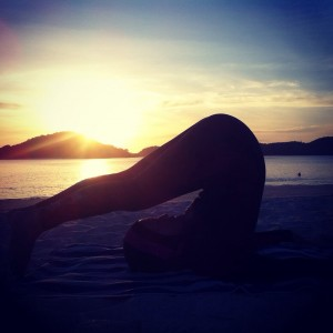 Sunset Yoga Plough Pose