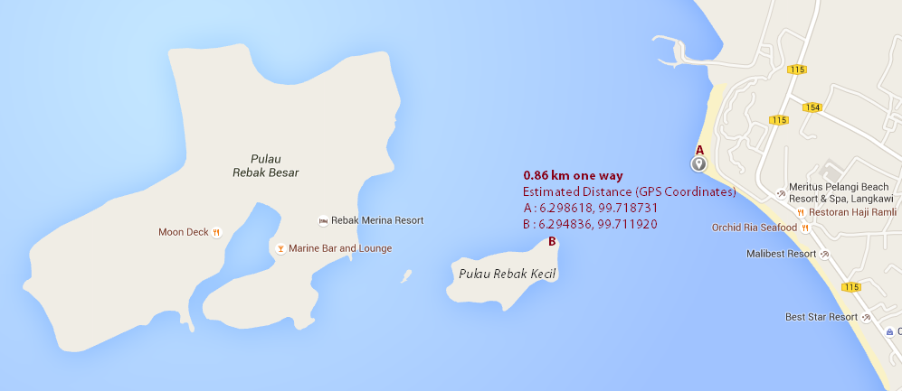 Estimated Distance From Pulau Rebak Kecil and Cenang Beach