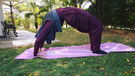 Wheel Pose in Hooda Sports Hijab