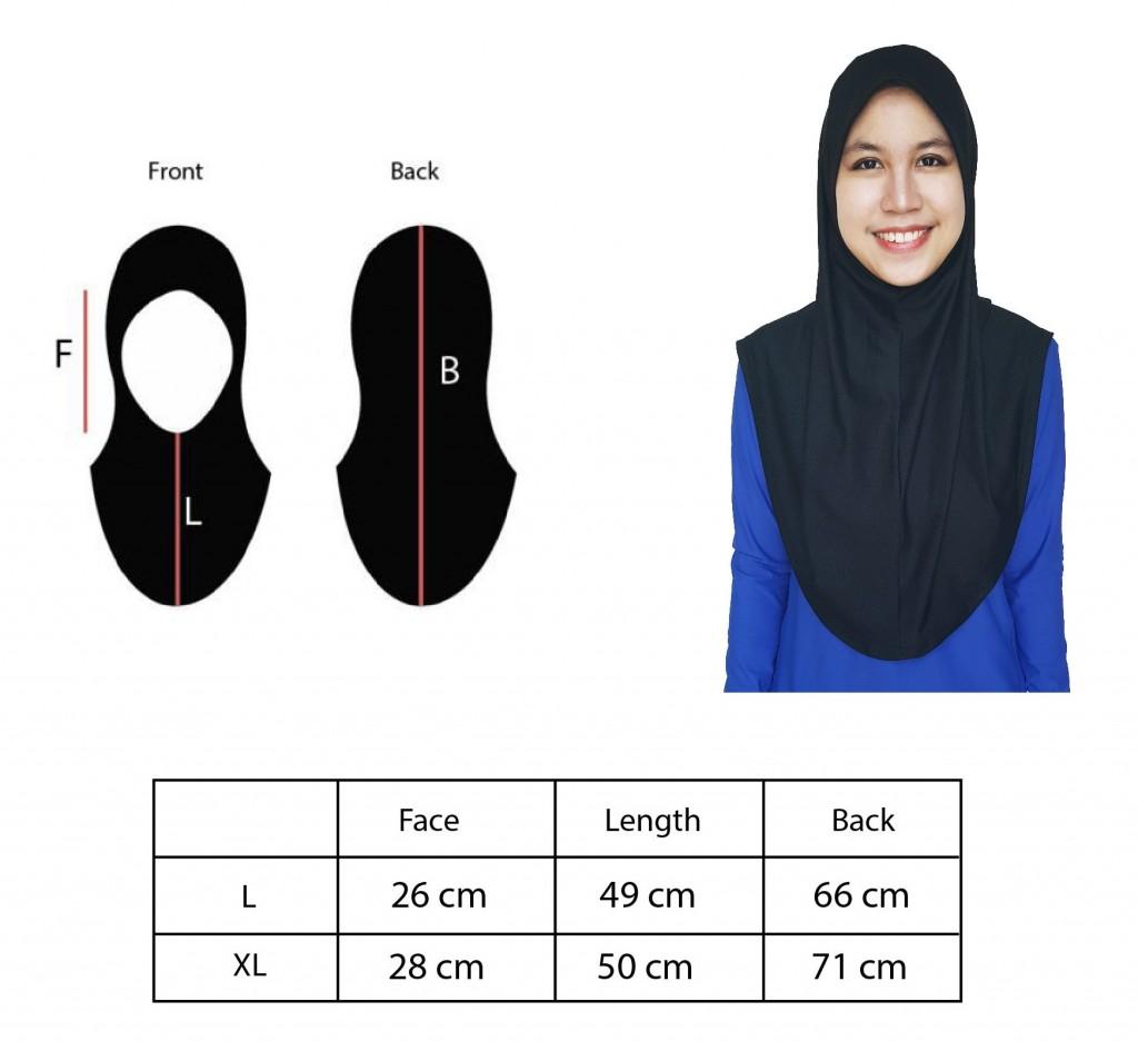 Mumtaz Sports Hijab Size Chart