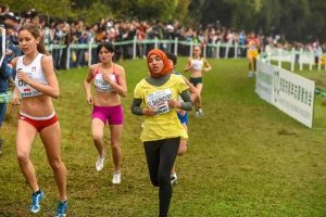 Fatma while racing at the World Cross Country Meet, March 2015