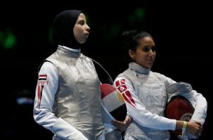 Noura Mohamed on the left