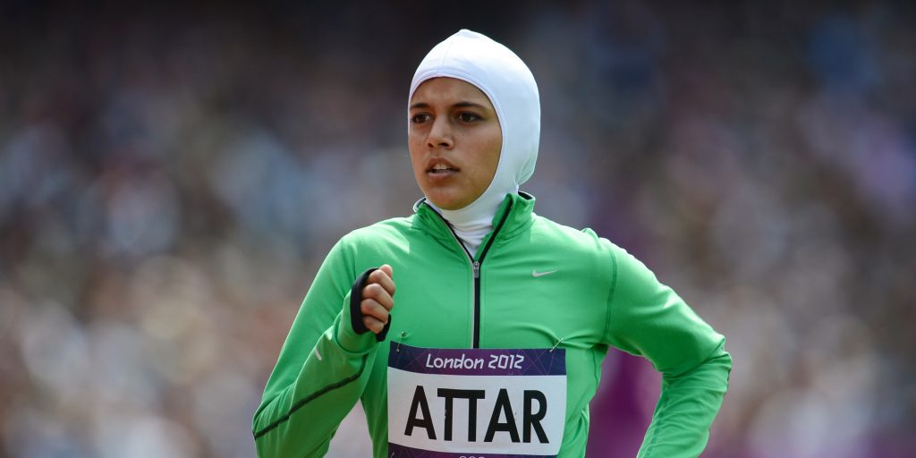 Saudi Arabia's Sarah Attar competes in the women's 800m heats at the athletics event of the London 2012 Olympic Games on August 8, 2012 in London. AFP PHOTO / FRANCK FIFE (Photo credit should read FRANCK FIFE/AFP/GettyImages)
