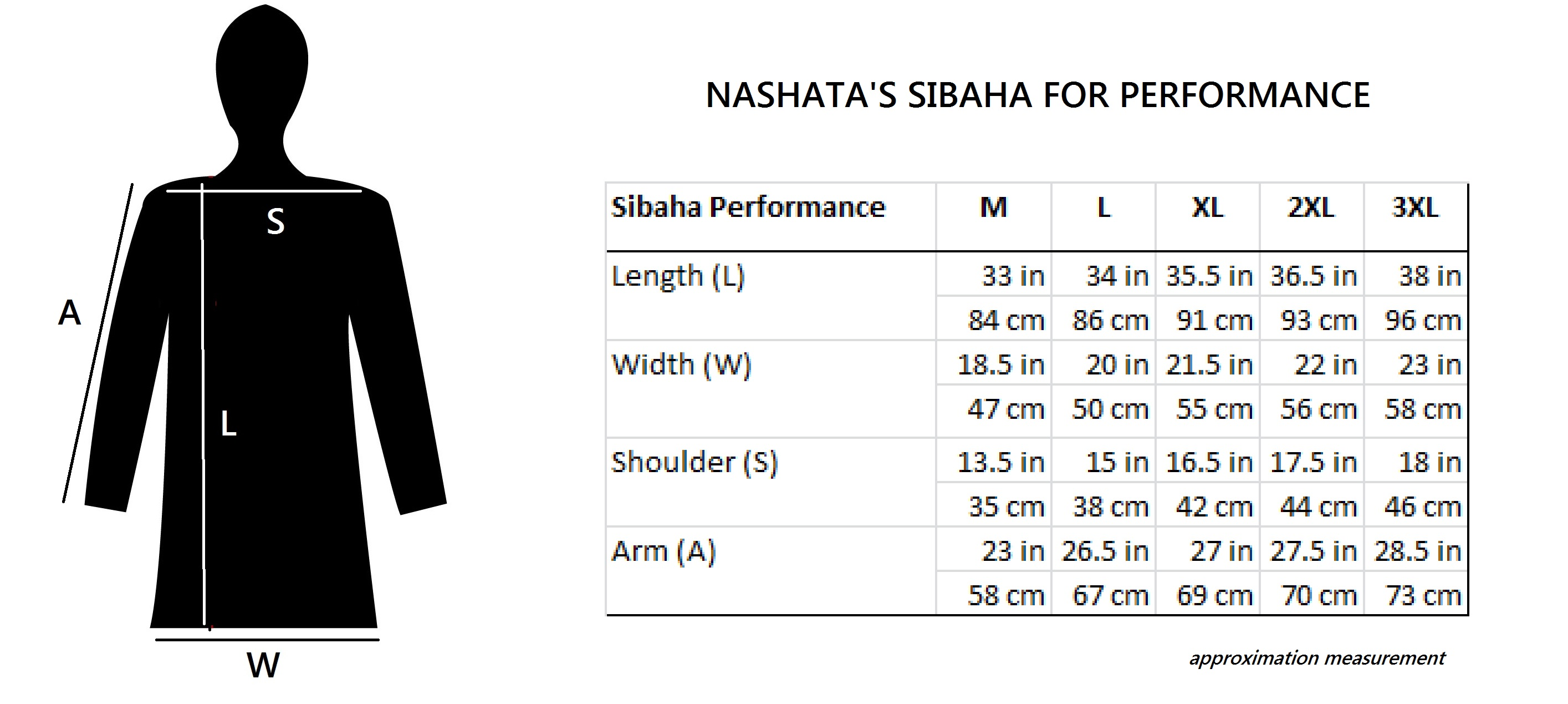 Nashata Sibaha for Performance Size Chart