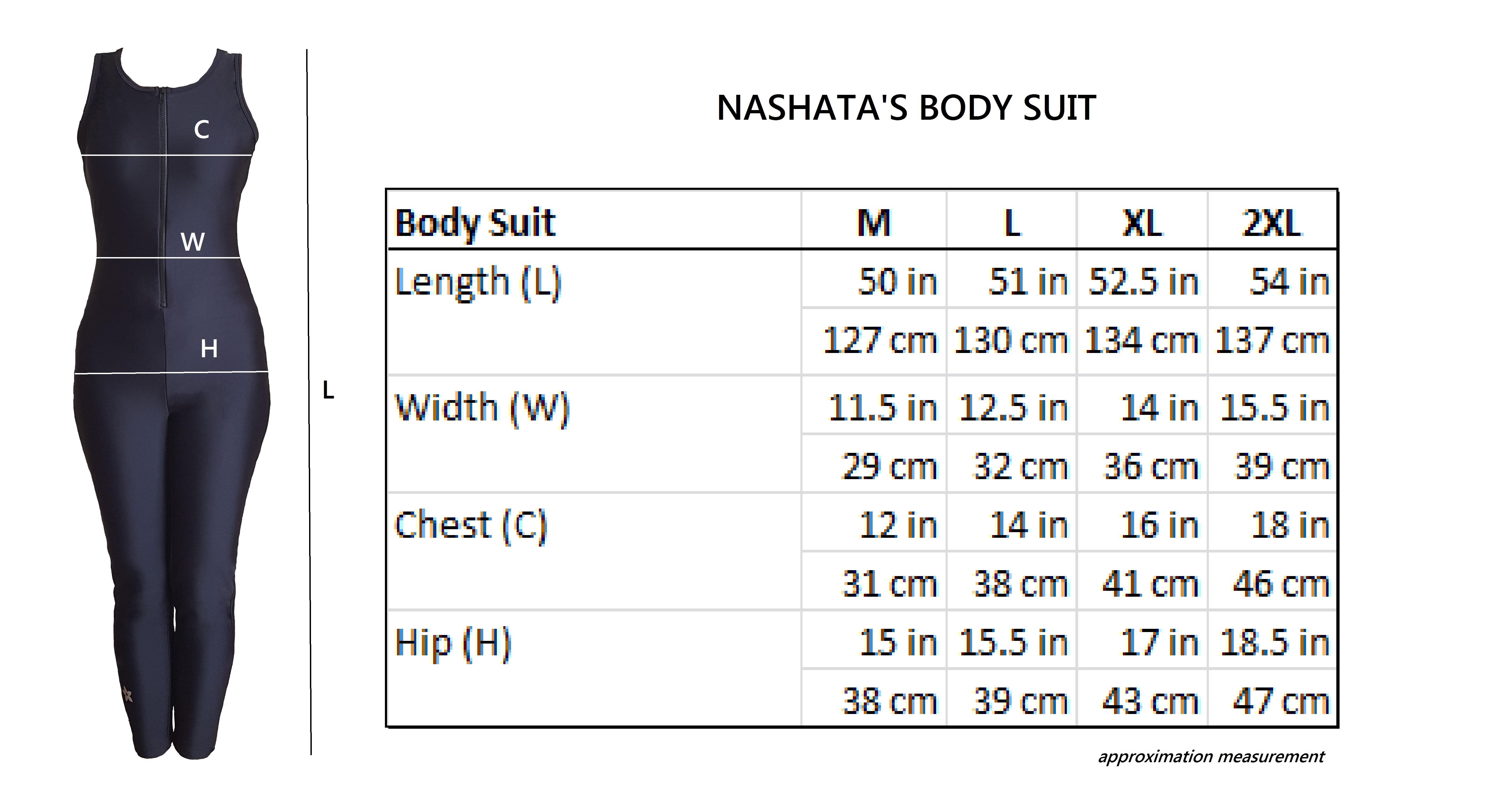 Nashata Body Suit Size Charts