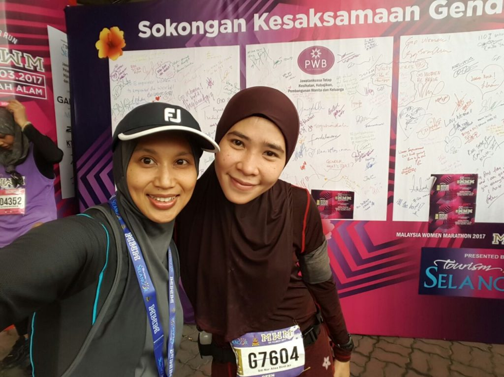 Siti all drenched after the run