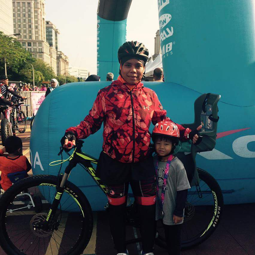 Lydia Hashim brought her son to cycle with her