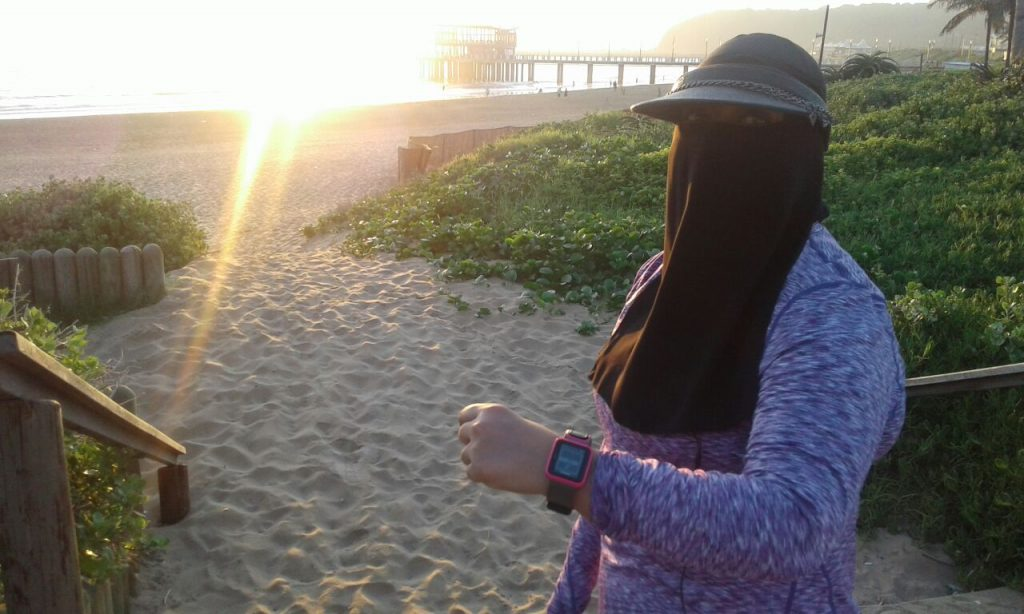 Zaheda runs in niqab and the most in the pack!