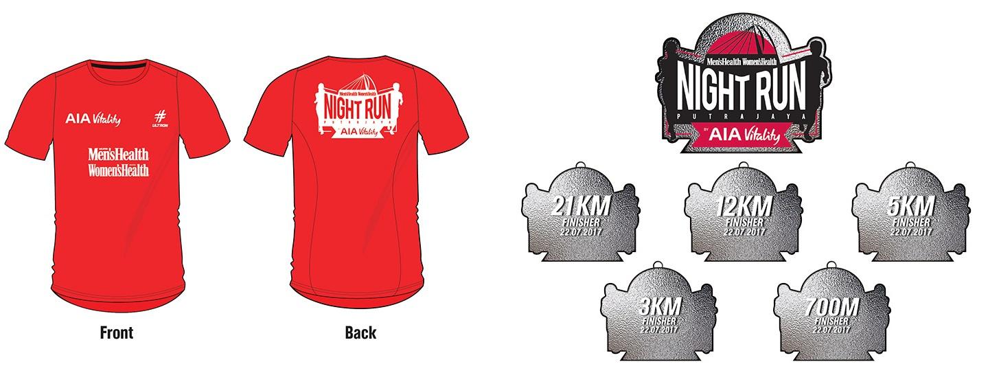 MHWH Night Run by AIAI Vitality Shirt and Medal