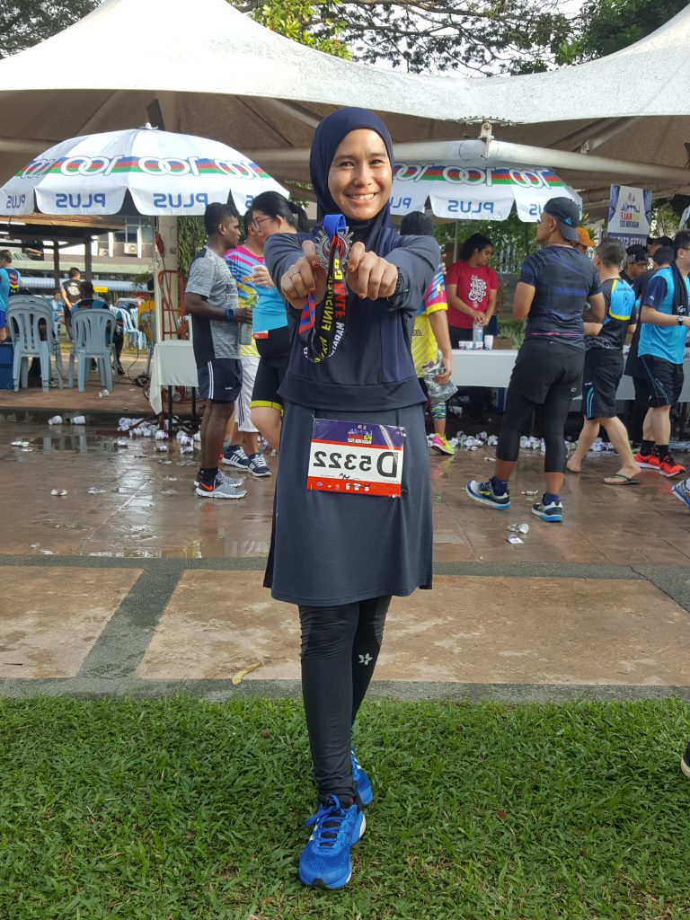 Intan Suraya after a back to back 21km, 12km and 21km runs