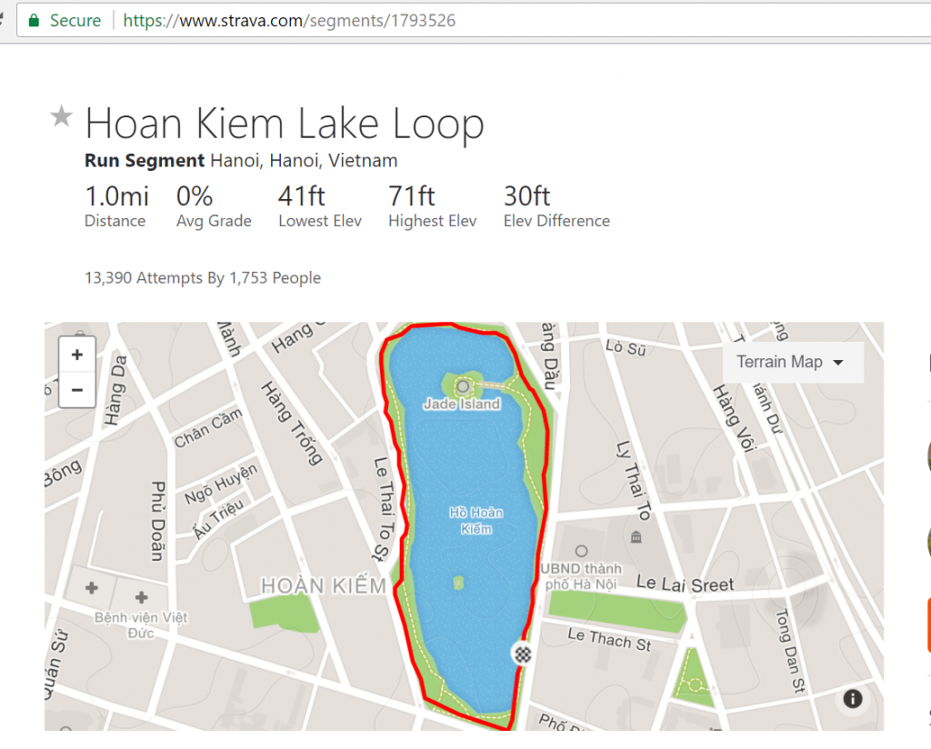 Hoan Kiem Lake Loop Using Strava